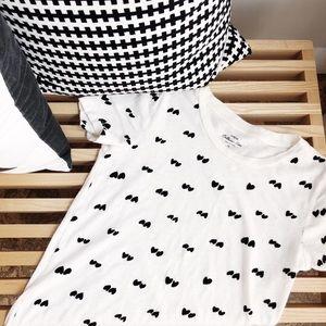JCREW signature cotton tee w/ velvet heart pattern